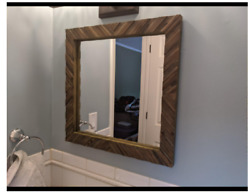 Rustic Wall Mirror Accent Vanity Wood Bath Square Shabby Chic Country Distressed $59.75