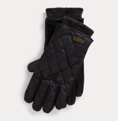 Polo Ralph Lauren Mens Quilted Touch Screen Field Gloves Leather Men's Small $54.99
