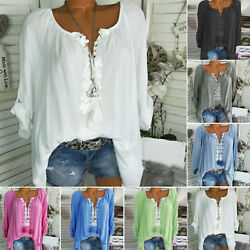 Plus Size Women Boho V Neck Long Sleeve T Shirt Loose Casual Holiday Tops Blouse $15.00