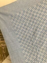 Vintage French SHADES BLUE CHECK STRIPES cotton TABLECLOTH c1930 $55.00
