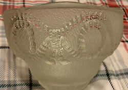 Lot of 5 Vintage Art Deco Frosted and Clear Embossed Glass Chandelier Shades $89.99