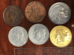 Six Vintage 3quot; LARGE NOVELTY COINS Paperweight Coaster Penny Twenty Dollars Lot $29.99
