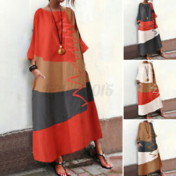 US STOCK Women Printed Kaftan Loose Casual Baggy Dress Evening Long Maxi Dresses $13.29