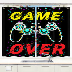 Game Over Kitchen Curtains 2 Panel Set Decor Window Drapes $20.99