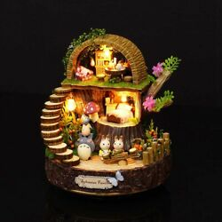 Doll House Wooden Miniature Forest House DIY Kit LED amp; Music Box Xmas Gift Toy $24.37