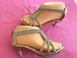 GOLD HEEL PARTY GIRLS SANDALS SIZES:9 4 $7.49