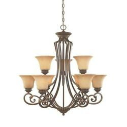 9 Light Chandelier Steel Frosted Glass Chain Dimmable Hardwired Shaded Bronze $471.13