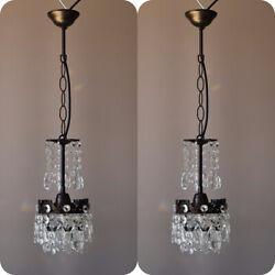 Two Matching Antique Crystal ChandeliersVintage Pendant Hallway Lighting Lamp GBP 595.00