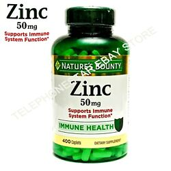Nature#x27;s Bounty Zinc Gluconate 50mg 400Caplet Support Immune System Booster 7 24 $18.99