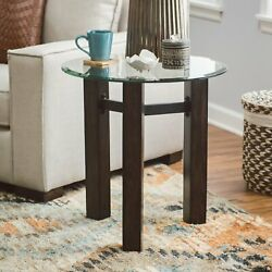 Round Glass Top End Table Contemporary Rustic Wood Base Side Accent Table $139.23