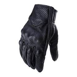 Goat Skin Leather Touchscreen Motorcycle Riding Perforated Gloves Men Women $19.95