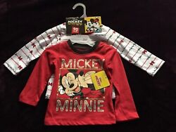 NEW 2 Set Disney Mickey and Minnie Mouse Toddler Girls Long Sleeve Tshirts $12.99