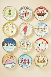 NWT Anthropologie Inslee Farris 12 Days of Christmas Plate Assorted $45.00