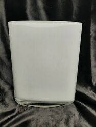 10quot; Tall White Glass Table Vase. Oval Oblong. HEAVY. Good Condition $45.00