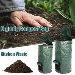 Collapsible Garden Compost Bag With Lid Kitchen Waste Bags Refuse Sacks Bin C $20.56