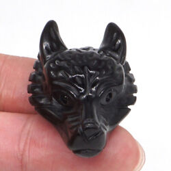 Wolf Head Pendant Natural Black Obsidian Crystal Stone Carving Healing Necklace $9.89