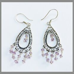 """SAJEN Amethyst Chandelier Earrings Sterling Silver 2.75"""" EXCELLENT CONDITION $39.98"""
