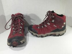 OBOZ Womens Bridger Mid Red Leather Hiking Trail Running Shoes Sz 8 R1 258 $69.99