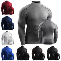 Mens High Neck Thermal Compression Long Sleeve Shirt Winter Base Layer Tops $20.33