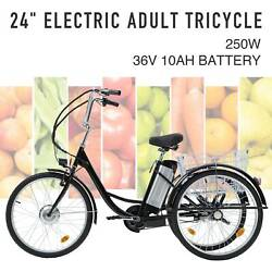 Adult Electric Tricycle 24quot; 250W 36V 10AH Lithium Battery w Basket $764.99