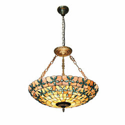 20quot;Tiffany Style Stained Glass Pendant Lamp Handcrafted Drum Chandelier Light $165.62