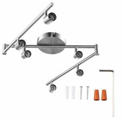 AIBOO 6 Light Adjustable Track Lighting with Foldable Arms for Living Room Silve $47.99