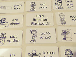 29 Laminated Preschool Daily Routines Flashcards. Black and White Word Wall Fla $2.95