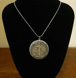Walking Liberty Silver Half Dollar Pendant Necklace $22.50