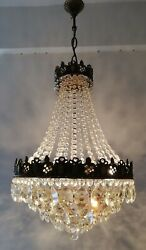 French Basket Style Vintage Brass amp; Crystals Chandelier Antique Lamp quot;208 10quot; $595.00