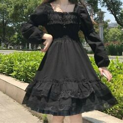 Lady Girl Gothic Dress Lolita Lace Black Long Sleeve Ruffle Vintage Punk Elegant
