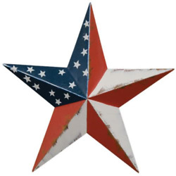 Set of 3 PATRIOTIC AMERICANA BARN STARS 3.5quot; PRIMITIVE RUSTIC COUNTRY FREE SHIP $9.95