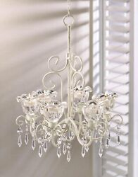 Shabby White Chic Chandelier CRYSTAL CHIC HOME DECOR Lights Lighting $32.91