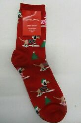 WONDERSHOP HOLIDAY X MAS CHRISTMAS SOCKS SNOW DOG RED NEW NWT ONE SIZE FITS MOST $7.95