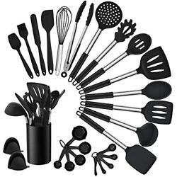 Homikit 27 Pieces Silicone Cooking Utensils Set Holder Kitchen Sets For Black $29.00