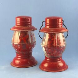 Red Railroad Lantern Vintage Glass Candy Container with original candy $34.99