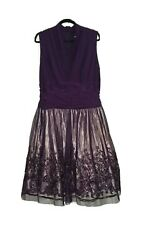 SLNY Purple Sheath Dress Lined Cocktail Plus 18W Soutache $31.49