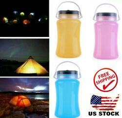 Solar Power LED Lantern Silicone Rechargeable Garden Yard Camping Outdoor WF $11.85
