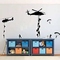 PICTURE IT ON CANVAS Soldiers Parachuting From Helicopters For Kids Playroom $23.30