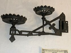 GORGEOUS ANTIQUE CAST IRON VICTORIAN OIL LAMP DOUBLE WALL BRACKET $115.00