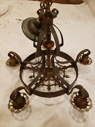 Vintage 1920's Chandelier and 8 Matching Sconces Arts and Crafts Art Nouveau $215.00