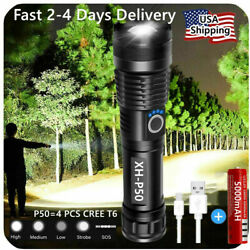 Super Bright 90000LM LED Tactical Flashlight With Rechargeable Battery $15.49