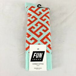 Fun Socks Mens Crew Socks Novelty Geometric Cotton Blend Orange Blue Size 6 12 $9.99