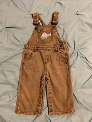 Crazy 8 Toddler Overalls Size 12 18 Months. Light Brown Denim With Helicopter $9.99