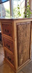 3 Draw Legal File Cabinet Copper Worm Wood $700.00