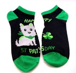 St. Patricks Day Puppy Dog HAPPY ST PAT#x27;S DAY Novelty Women's Low Cut Socks 5 9 $4.95
