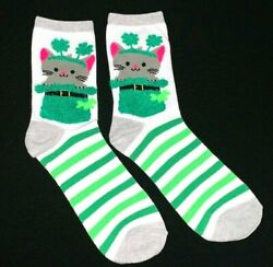 Happy St. Patrick#x27;s Day Cat Kitten Lucky Clover Novelty Women's Crew Socks 5 9 $4.95