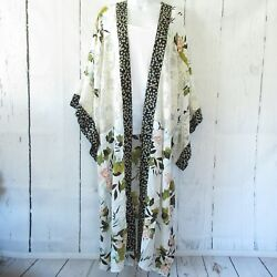 New Gigio By Umgee Duster Kimono M Medium Ivory Floral Lace Boho Peasant $44.99