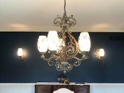 Chandelier and 2 Sconces High End Used but in Excellent Condition $60.00