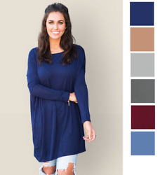 Womens Piko Style Long Sleeve Tunic Loose Top Dress Light Solid Blouse S M L $9.99