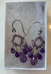 Sterling Silver Amethyst Chandelier Earrings with Beading and Briolettes $25.00